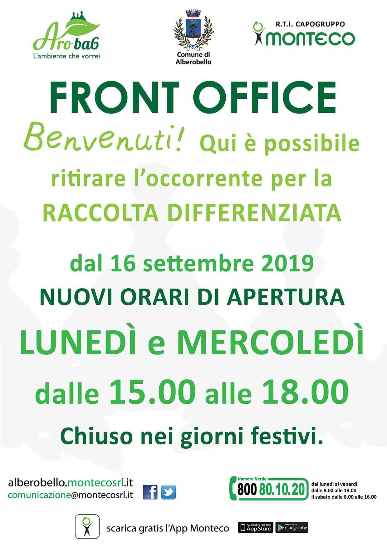 Front Office Alberobello: Nuovi orari di apertura