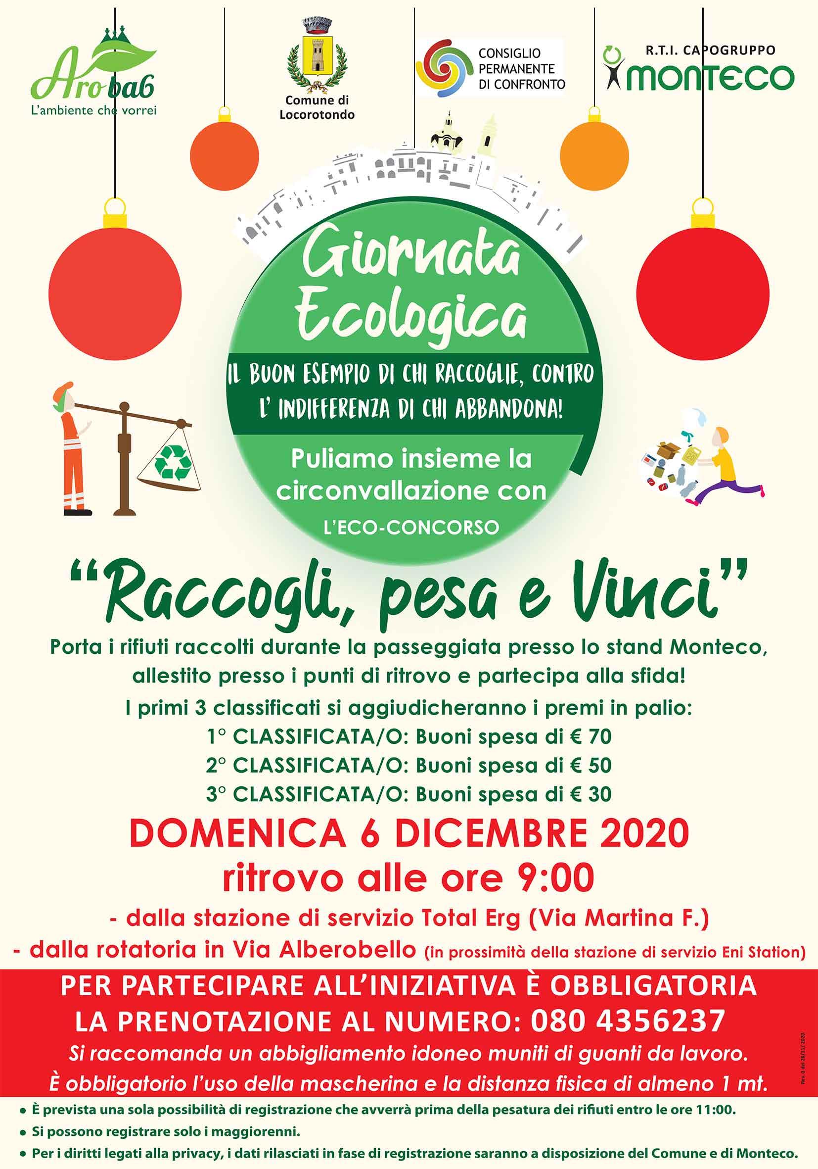 """LOCOROTONDO: Giornata ecologica di pulizia della circonvallazione con l'Eco-Concorso """"Raccogli, pesa e Vinci"""""""